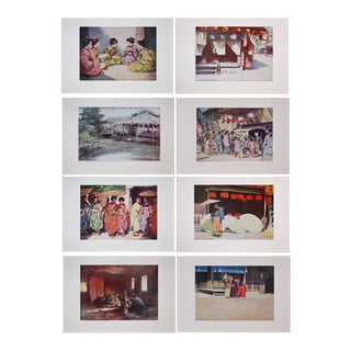 M. Menpes Antique Lithographic Paintings of Japan - Set of 8