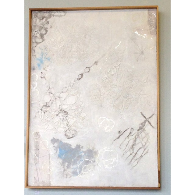 White Neutral Monochromatic Encaustic Painting - Image 4 of 5