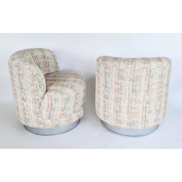 Milo Baughman Style Swivel Lounge Chairs - a Pair - Image 4 of 10