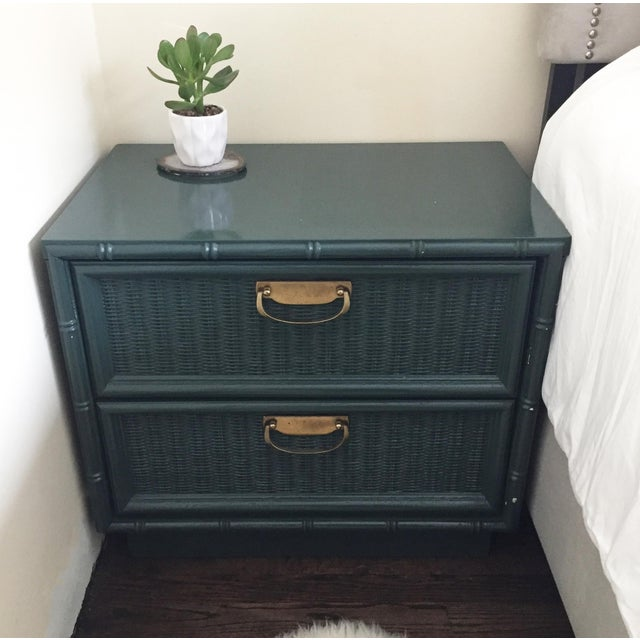 Teal Bamboo Lacquered Nightstand - Image 7 of 7