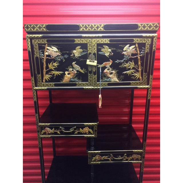Asian Black Lacquer Cabinet With Shelves - Image 3 of 11