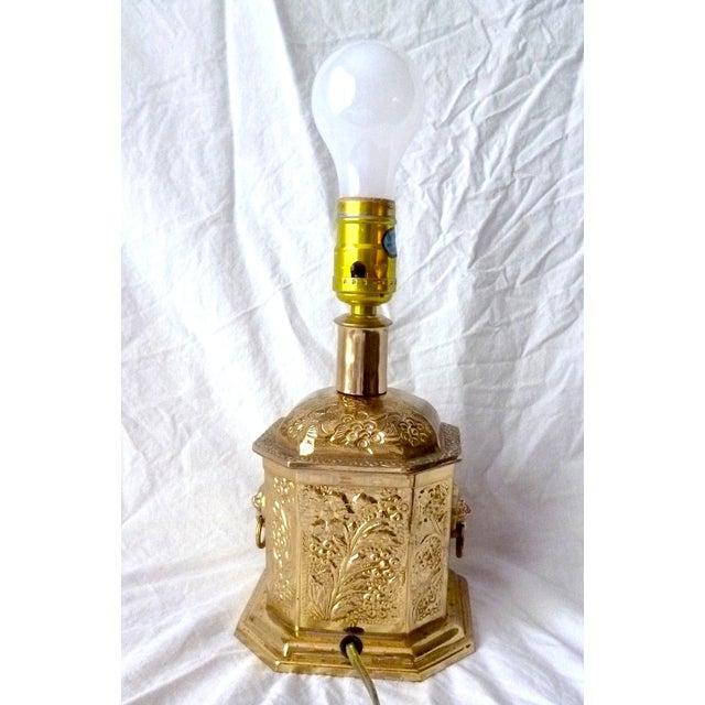 Golden Oriental Style Brass Lamp - Image 5 of 7