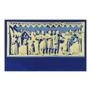 Medieval Carving Blue Serigraph