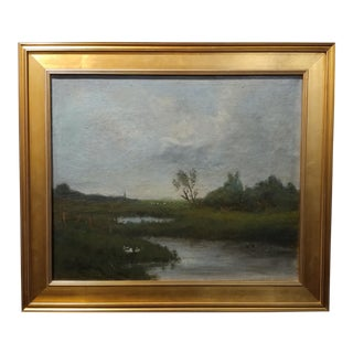 Anton Van Anrooy Dutch River Landscape Oil Painting