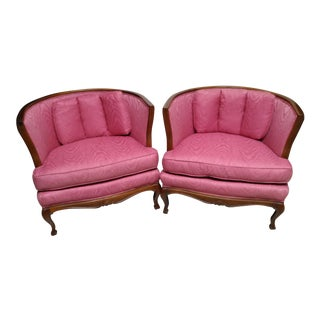 French Country Style Barrel Armchairs - A Pair