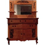 Image of Antique Victorian Tiger Oak Dresser with Mirror