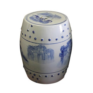 Chinese Blue & White Porcelain Scenery Round Stool Table
