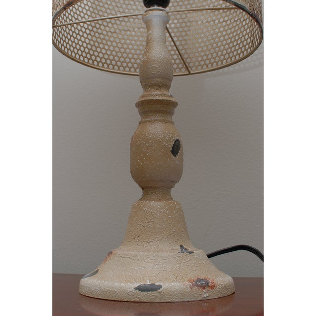Rustic Cream Metal Hole Punched Table Lamp - Image 4 of 5