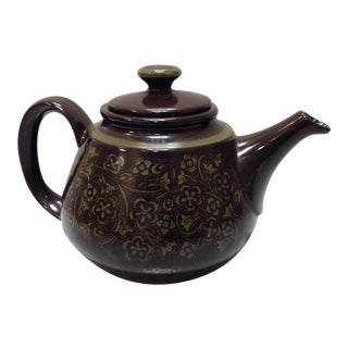 Vintage Brown and Green Teapot
