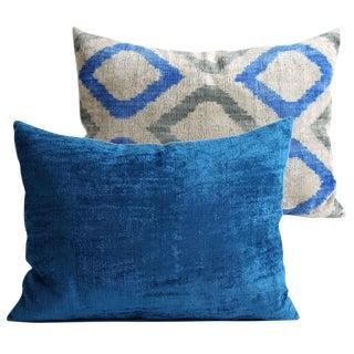Pair Of Silk Velvet Designer Pillows