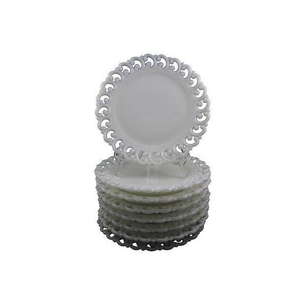 Antique Milk Glass Lace Edge Plates - Set of 8 - Image 6 of 6