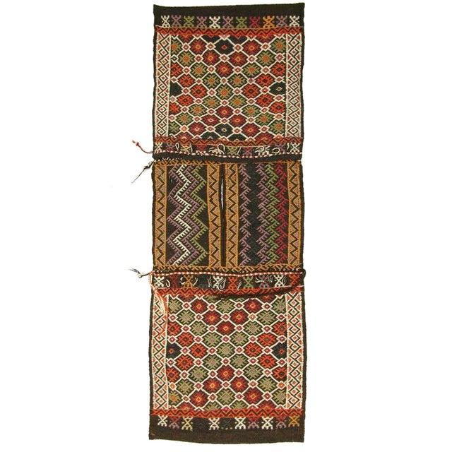 Red and Black Vintage Turkish Cicim Saddlebag - Image 1 of 3