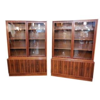 Hundevad Danish Rosewood Glass Door Bookcases- A Pair