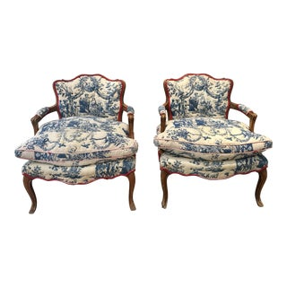 Antique Toile Bergere Armchairs - A Pair