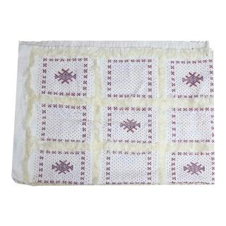 Red Beaded Berber Moroccan Wedding Blanket
