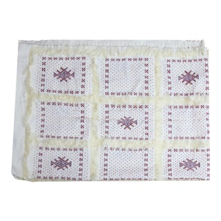 Red Beaded Berber Moroccan Wedding Blanket