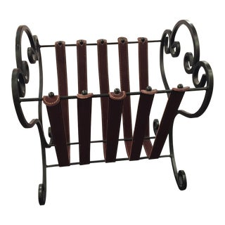 Wrought Iron and Leather Tuscan Style Magazine Rack or Holder