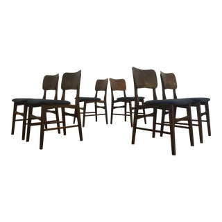 Mid Century Dark Wood Dining Chairs, Attributed to Kofod Larsen - Set of 6