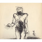 Image of Mid Century Modern Figural Abstract Watercolor