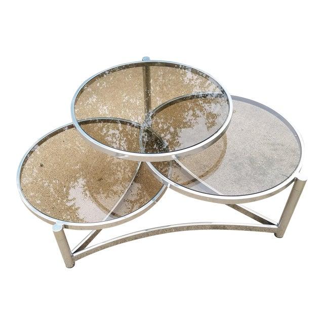 Milo Baughman Tri Level Chrome and Glass Swivel Coffee Table - Image 1 of 11