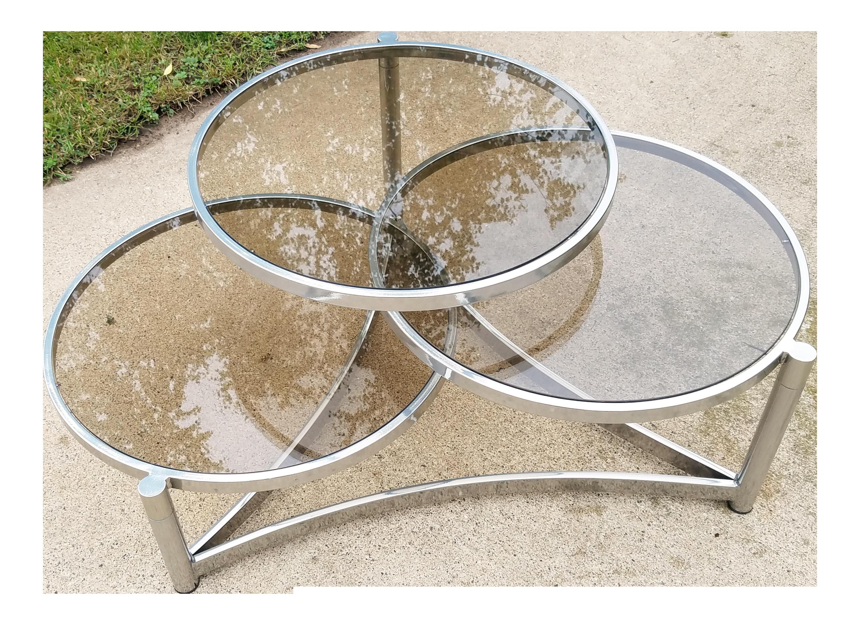 Milo Baughman Tri Level Chrome And Glass Swivel Coffee Table