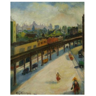 "Anna Elkan Meltzer ""New York City El"" Painting"