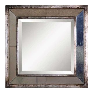 Uttermost Davion Antiqued Silver Leaf Square Wall Mirror