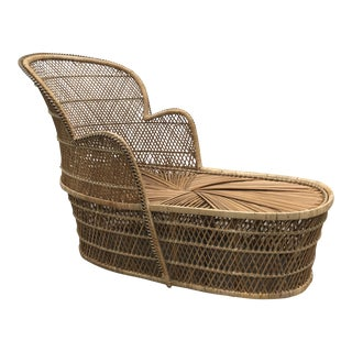 Vintage Bohemian Wicker Rattan Peacock Chaise