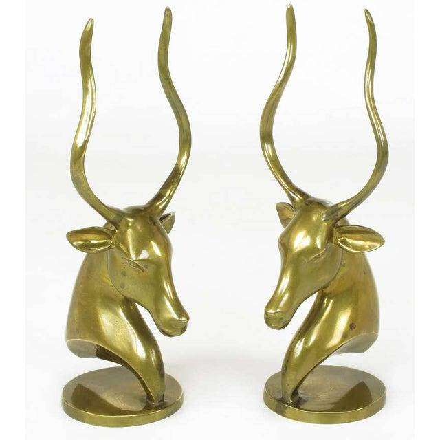 Pair Brass Antelope Sculptures - Image 4 of 9