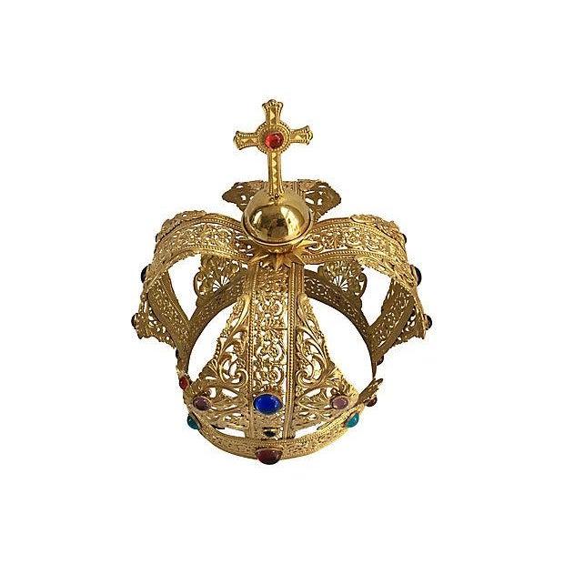 Vintage Brass Filigree Cabochon Crown - Image 2 of 5