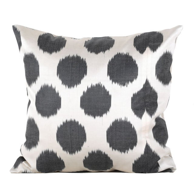 Gunmetal Gray & White Silk Atlas Pillows - A Pair - Image 1 of 2