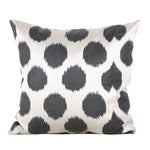 Image of Gunmetal Gray & White Silk Atlas Pillows - A Pair