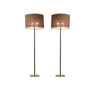 Pair Kalmar Floor Lamps With Oval Shade And Leather Covered Stem, Austria