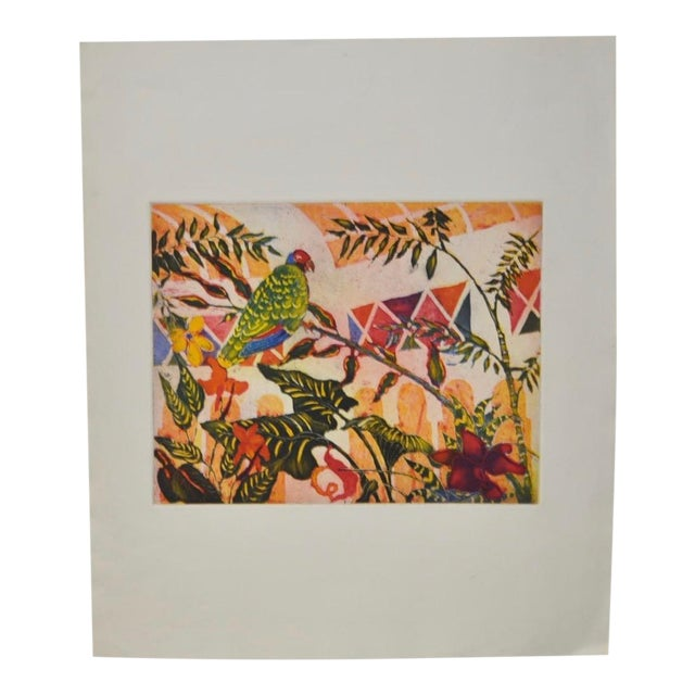 'Tropical Parrot' Colorful Monoprint - Image 1 of 8