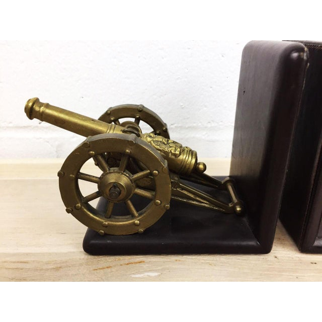 Antique Artillery French Leather & Bronze Bookends - A Pair - Image 9 of 11