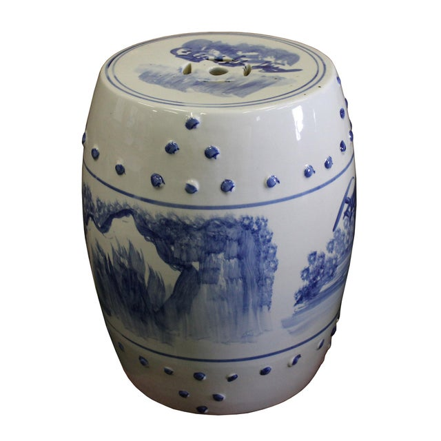 Chinese Blue & White Porcelain Scenery Round Stool Table - Image 5 of 7