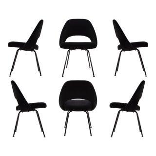 Saarinen Executive Armless Chairs, Black Edition - Set of 6