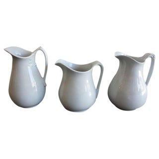 Collection of Three 19th Century Ironstone English Pitchers
