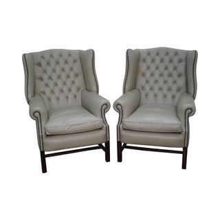 Tufted Leather Chesterfield Chippendale Style Wing Chairs - a Pair