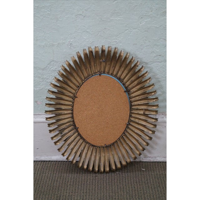 Image of 1960s Italian Oval Sunburst Mirror