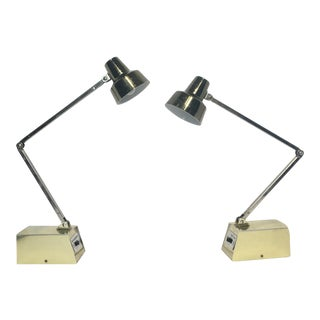 Mid-Century Gold Adjustable Tensor Lamps - A Pair