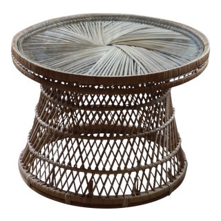 Bohemian Rattan Glass Round Side Table