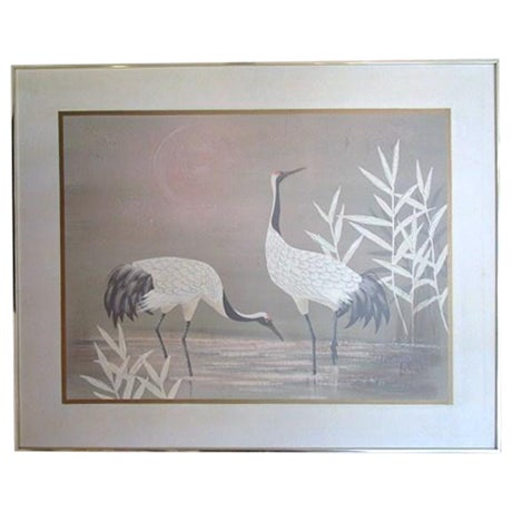 "Pastel ""2 Cranes"" Painting - Image 1 of 6"