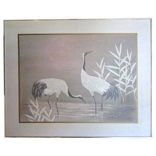 "Pastel ""2 Cranes"" Painting"