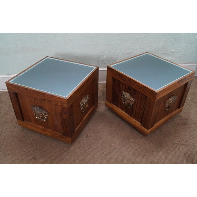 Image of Solid Walnut Cube End Tables - A Pair