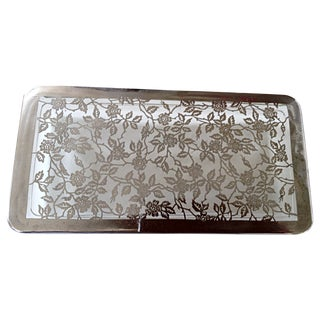 Silver Overlay Glass Cigarette Box