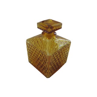 Vintage Amber Glass Diamond Cut Decanter