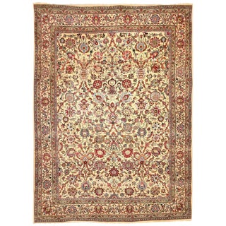 Antique Part Silk Persian Kashan Carpet