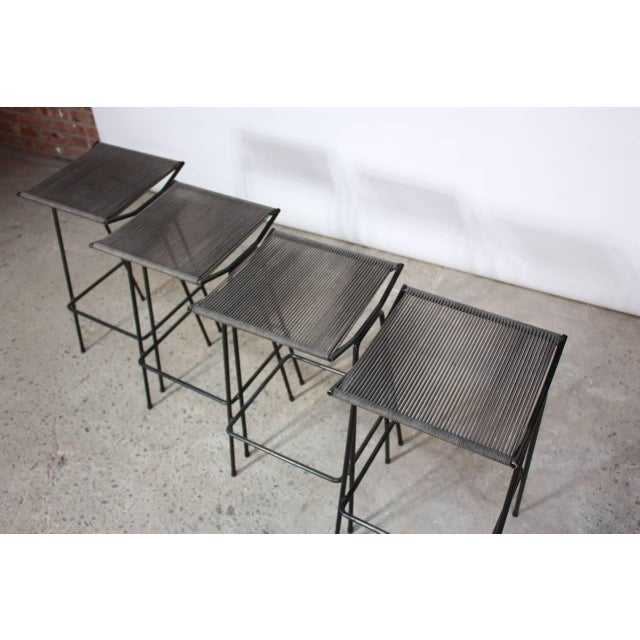 Set of Four Allan Gould Iron and Rope Stools - Image 3 of 10