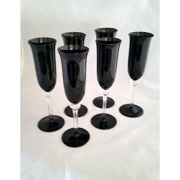 Black Crystal Champagne Flutes - Set of 6 - Image 5 of 6
